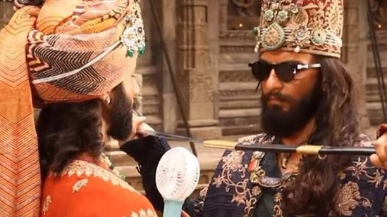 Shahid Kapoor and Ranveer Singh rehearsing a scene on sets of Padmaavat.