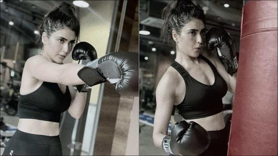 Looking for full body workout? Try kickboxing like Karishma Tanna for more perks(Instagram/karishmaktanna)