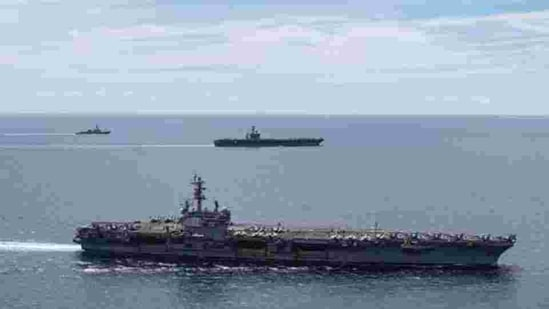 The carrier group entered the South China Sea at the same time as Chinese-claimed Taiwan reported incursions by Chinese air force jets.(AP)
