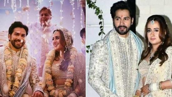 Varun Dhawan and Natasha Dalal on their wedding(Instagram/ varundvn and varindertchawla)