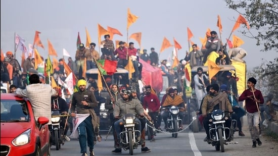 Farmers during the tractor rally on Republic Day at Singhu border in New Delhi on Tuesday. (ANI)