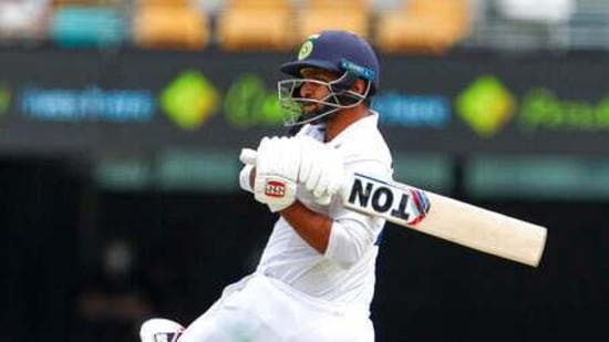 India's Shardul Thakur bats during play on day three of the fourth cricket test between India and Australia at the Gabba, Brisbane, Australia, Sunday, Jan. 17, 2021. (AP Photo/Tertius Pickard)(AP)