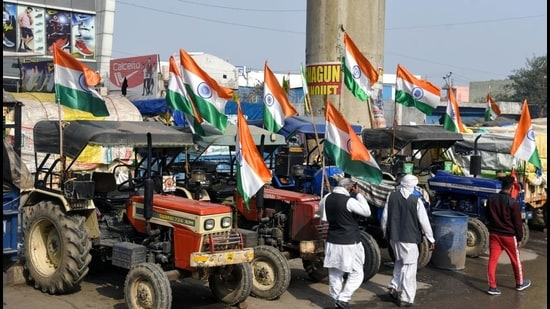Farmers ahead of their tractor rally on Republic Day, at Tikri border in Delhi on January 25. (ANI)
