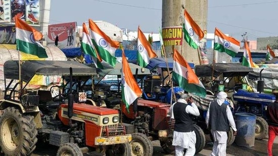 Farmers ahead of their tractor rally on Republic Day, at Tikri border in Delhi on January 25. (ANI)(HT_PRINT)