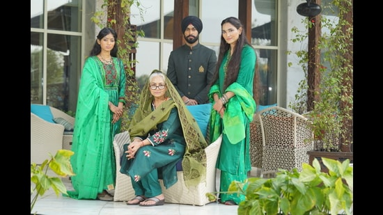 Fabrics such as handwoven silk, cotton and linen with floral threadwork for women, and elegant bandhgala for men in olive green evokes patriotism and love for the country. (Photo: Ichit Anand)