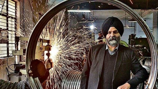 Gurmeet Singh Kular, Ludhiana based-entrepreneur and president of Federation of Industrial and Commercial Organization (FICO) at his cycle parts unit in Ludhiana (Gurpreet Singh/Hindustan Times)