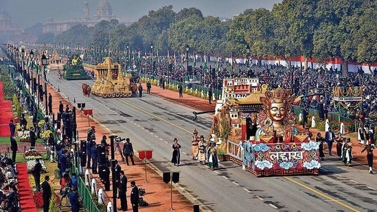 Tableau of Ladakh during the Republic Day parade at Rajpath on Tuesday. (Ajay Aggarwal /HT PHOTO)