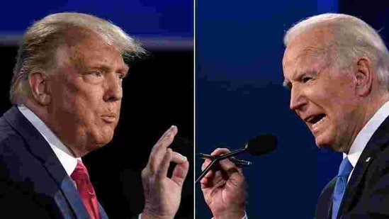 A combination of picture of US President Donald Trump (L) and Democratic Presidential candidate Joe Biden during the final presidential debate at Belmont University in Nashville, Tennessee, on October 22.(AFP)