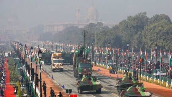 Battle tanks move through the ceremonial Rajpath boulevard during India's Republic Day celebrations in New Delhi, India, Tuesday, Jan. 26, 2021. Republic Day marks the anniversary of the adoption of the country's constitution on Jan. 26, 1950. (AP Photo/Manish Swarup)(AP)
