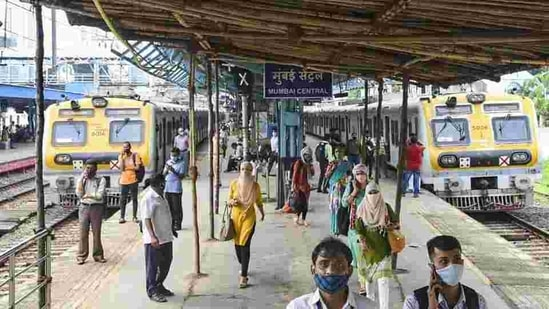 Women passengers will not be checked for identity cards while others travelling in Mumbai local trains will require QR code as usual.(PTI)