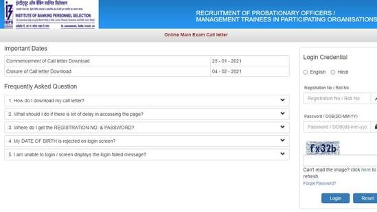 IBPS PO mains admit card 2020.(Screengrab )