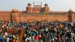 The gathering of protesters at the Red Fort on Wednesday for which all farmers' unions are now laming Deep Sidhu. (REUTERS)