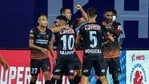 FC Goa players celebrate a goal against Hyderabad FC during their Indian Super League match(PTI)