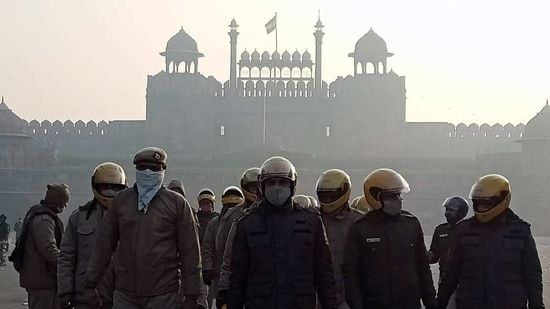 Heavy security personnel deployed at Red Fort in New Delhi on Wednesday. A group of protestors climbed to the ramparts of the fort and unfurled flags on the 26th of January. (ANI)