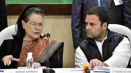 Congress leaders Rahul Gandhi and Sonia Gandhi. (Sonu Mehta/HT PHOTO)