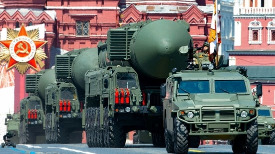 Russian RS-24 Yars ballistic missiles roll in Red Square during the Victory Day military parade marking the 75th anniversary of the Nazi defeat in Moscow.(File Photo / AP)