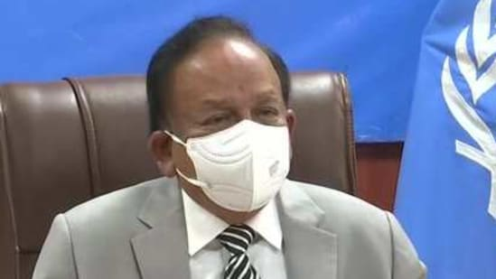 Union health minister Dr Harsh Vardhan at 148th session of WHO Executive Board meeting. (ANI/Twitter)