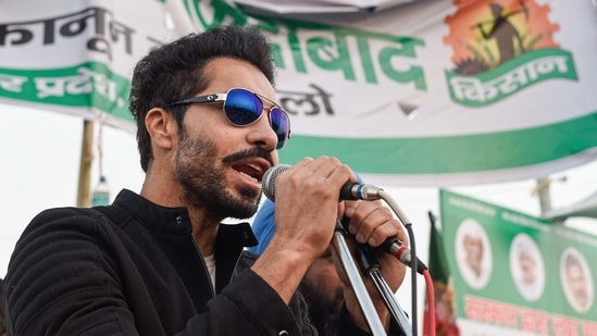 """Deep Sidhu, who had been associated with the farmers' agitation for the last many months, said """"anger flares up"""" in a mass movement like this when the genuine rights of people are ignored.(PTI)"""
