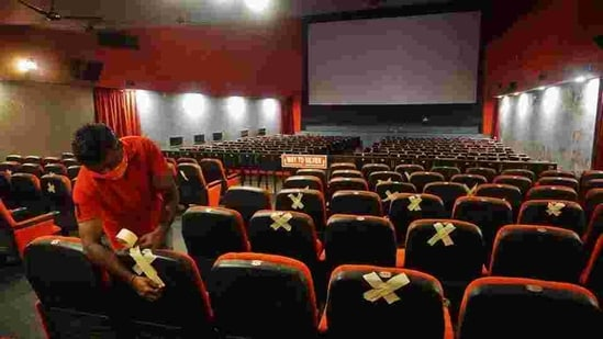 Cinema halls, facing huge losses, had also been demanding that the number of seats be increased. The government has said that they can have more people watching the shows for which revised SOPs will be issued by the I&B ministry. (HT PHOTO).