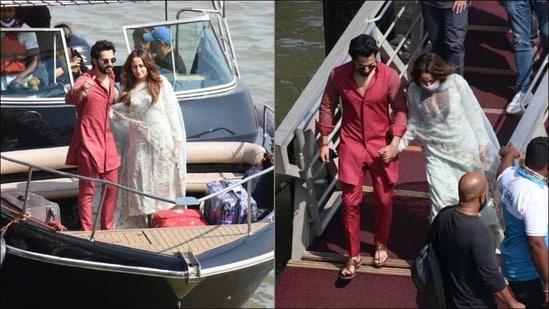Varun Dhawan wins fans hearts in maroon kurta set as he reaches Mumbai with wife( Dilnaz Malegamwalla)