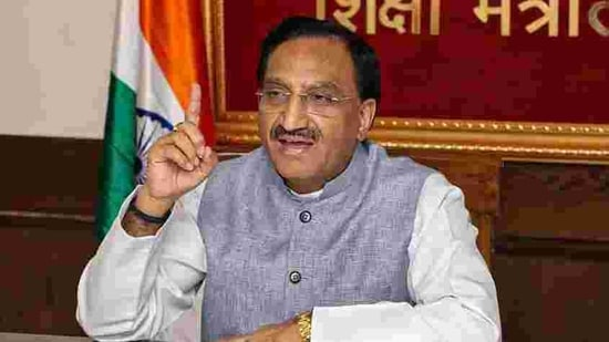 Union Education Minister Ramesh Pokhriyal 'Nishank'(PTI)