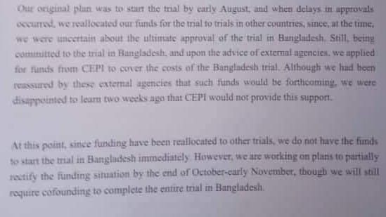 Sinovac Biotech sprung a surprise on Bangladesh on 22 September, claiming that it would have to co-fund the vaccine trial since the company had reallocated funds(Sourced)