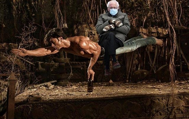 "Vidyut Jammwal captioned, ""ME:.... HIM: Waiting for my beer and the balancing act to get over #berniememes #berniesanders"" (Photo: mevidyutjammwal)"