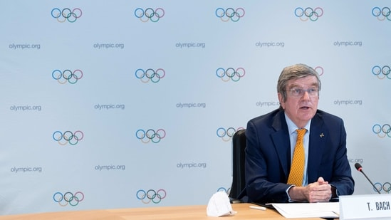 IOC President, Thomas Bach, hosts the first Executive Board meeting for 2021 at the Olympic House in Lausanne, Switzerland.(REUTERS)