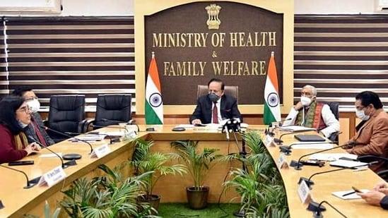 Dr. Harsh Vardhan virtually releasing the creatives on Vaccine Hesitancy from Nirman Bhawan, in New Delhi on Thursday. (ANI)