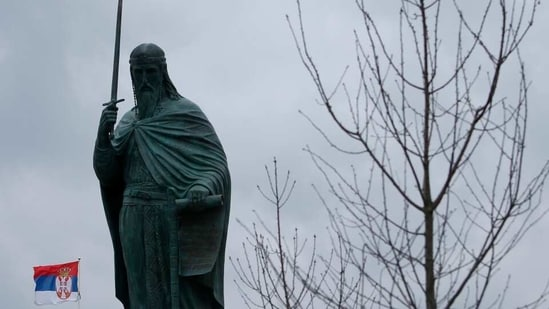 President Aleksandar Vucic's allies say the 23-meter-high (75-foot-high), 70-ton bronze sculpture of the legendary founder of the Serbian state, Stefan Nemanja, placed on a gilded egg-shaped pedestal in downtown Belgrade will be a new landmark of the Serbian capital.(AP)