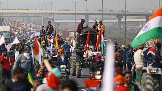 Farmers protest during a tractor rally at the Inner Ring Road in New Delhi, India, on January 26, 2021. (Bloomberg)