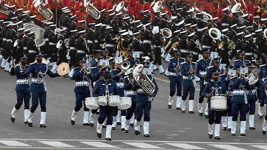 Air Force, Army and Navy bands performing during the full dress rehearsals on January 27 for the Beating Retreat.(Raj K Raj / HT Photo)