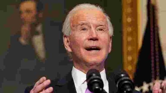 US President Joe Biden speaks at the White House