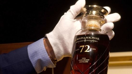The Glen Grant whisky being auctioned is the oldest from the distillery. It comes in a Dartington crystal decanter with an American black walnut presentation box. (AP Photo/Vincent Yu)(AP)