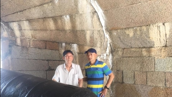 Zhang Hai with his father, Zhang Lifa, 76, who died last January after contracting Covid-19. (Photo courtesy: Zhang Hai)