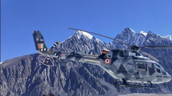 HAL's indigenous Light Utility Helicopter (LUH) during trials in the Himalayan mountain ranges in Leh, Ladakh.Sukhoi 30 MKI, advanced light helicopter (ALH) Dhruv, light combat helicopter (LCH), and LUH will also take part in the flying display. (PTI)
