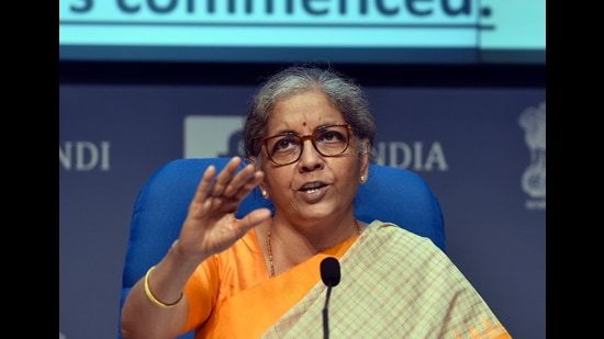 As finance minister Nirmala Sitharaman unveils her budget, she confronts an economy scarred by increased informality in the labour market, a shrunken micro, small and medium enterprises (MSME) sector, and economic activity moving to large firms who are incentivised to generate profits rather than employment. (Sanjeev Verma/HT PHOTO)