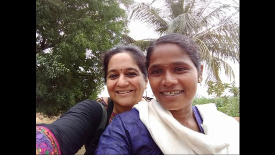 Aparna Karthikeyan (left) and farmer Chandra Subramanian, whose story has been fictionalised in No Nonsense Nandhini (Courtesy Aparna Karthikeyan)