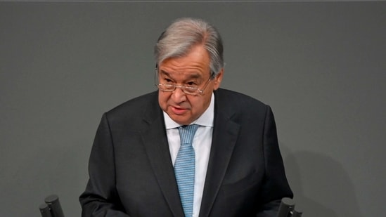 The Secretary General of the United Nations (UN) Antonio Guterres speaks at the Bundestag (lower house of parliament) on December 18, 2020 in Berlin. (Photo by John MACDOUGALL / AFP)(AFP)