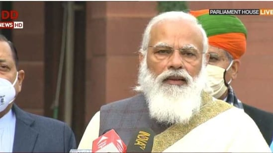 Prime Minister Narendra Modi addressed at the beginning of the Budget session on Friday.