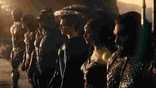The DC superheroes line up in a still from Zack Snyder's Justice League.