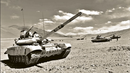 Soldiers of the Indian Army operating T-90 Bhishma tank near the Line of Actual Control, Chumar-Demchok area of Eastern Ladakh, January 6, 2021 (ANI)