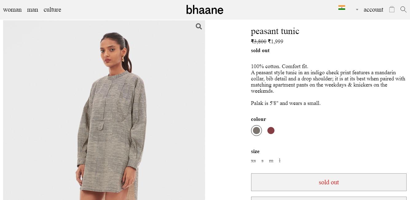 Sonam Kapoor Ahujas peasant tunic from Bhaane(bhaane.com)