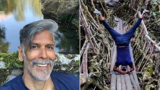 Milind Soman does headstand in new fitness post(Instagram/ milindrunning)