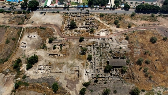 This 2014 aerial photo shows the site of the Al-Juma (Friday) Mosque in Tiberias, northern Israel. Archaeologists said recent excavations at the ancient city of Tiberias have discovered the remnants of one of the earliest mosques in the Islamic world. The foundations of the Muslim house of worship date to the late 7th century. (NTEP/ David Silverman and Yuval Nadel via AP)(AP)