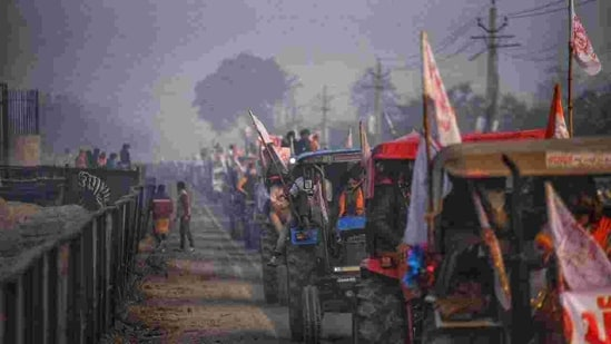 Tractors all set for their Republic Day march at Singhu border. (Photo: HT/Amal KS)