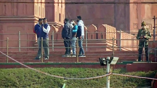 Security personnel at Red Fort on Saturday. Security has been tightened after violence at the historic site on Republic Day.(ANI Photo)