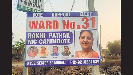 Some candidates have also put up banners without the symbol and photographs of any senior party leaders. (HT Photo)