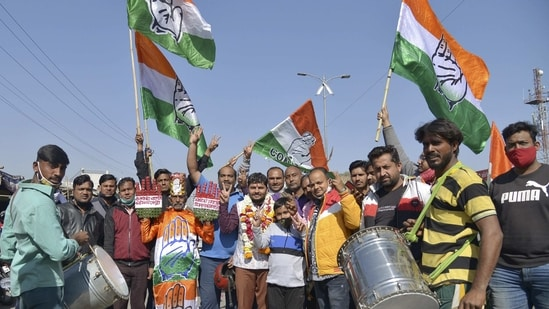 Ajmer: Congress party workers during the counting of votes for Rajasthan Municipal Election 2021 result, in Ajmer, Sunday, Jan. 31, 2021. (PTI Photo)(PTI01_31_2021_000185B)(PTI)