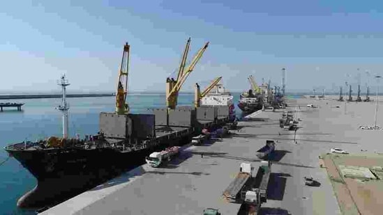 An Indian delegation, led by Joint Secretary (Pakistan-Afghanistan-Iran) in the External Affairs Ministry JP Singh handed over the cranes, according to Indian Embassy in Iran.(Chabahar port website)